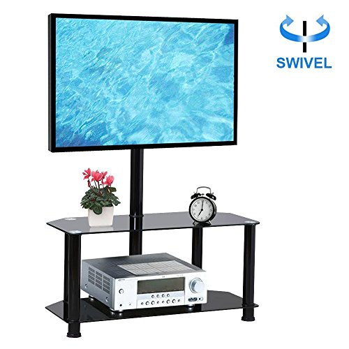 Yaheetech 2 Tier Black Swivel Cantilever TV Stand Mount Glass Media Console Storage Shelf Stand for Flat Screens up to 60 (Swivel Top Media Stand)