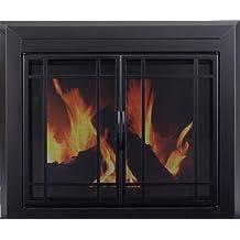 Pleasant Hearth EA-5012 Easton Fireplace Glass Door, Midnight Black, Large