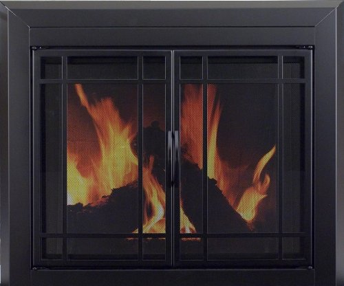 Glass Fireplace Screens (Pleasant Hearth EA-5011 Easton Fireplace Glass Door, Midnight Black, Medium)
