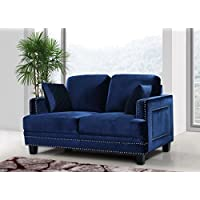 Meridian Furniture Ferrara Velvet Nailhead Loveseat, Navy