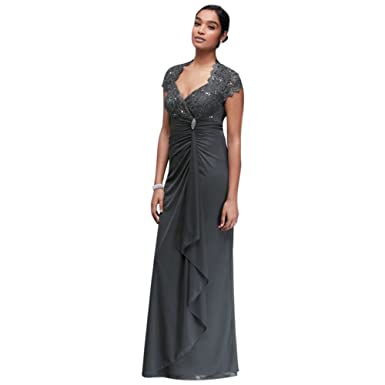 Gathered Jersey Mother Bride Groom Dress Scalloped Lace Bodice Style At Amazon Womens Clothing Store