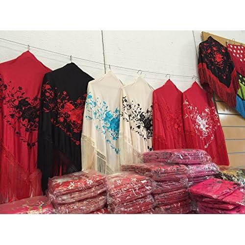 f024b8a0c846 Description du produit. Châle Flamenco adulte de danse   160 x 80 cm. La  Señorita Foulard Ceinture Chale De Danse Flamenco Broderie Frange noir rouge