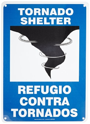 """Accuform Signs SBMFEX553VA Aluminum Spanish Bilingual Sign, Legend """"TORNADO SHELTER/REFUGIO CONTRA TORNADOS"""" with Graphic, 14"""" Length x 10"""" Width x 0.040"""" Thickness, Blue/Black on White"""