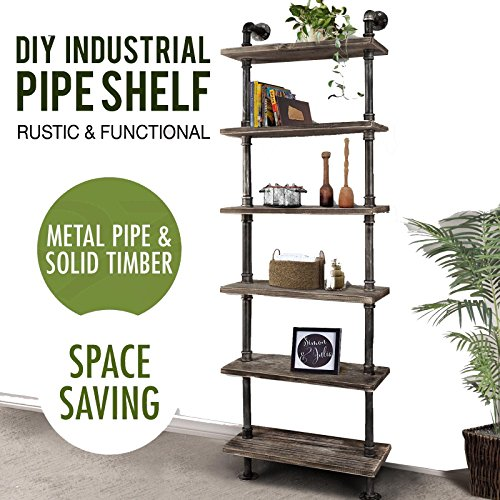 Diwhy Industrial Rustic Modern Wood Ladder Pipe Wall Shelf 6 Layer Pipe Design Bookshelf Diy Shelving Office Furniture Shelving