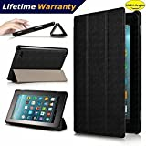 DHZ Folio Case for Amazon Fire HD 8 Tablet(2017 and 2016 Release,7th/ 6th Generation) - Ultra Lightweight Smart Cover Slim Tri-fold Stand Leather Case with Auto Wake / Sleep,Black