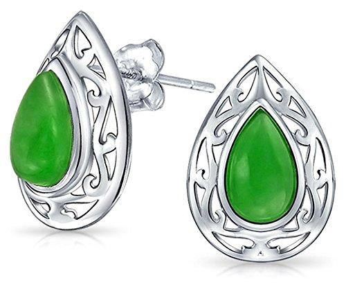 Dyed Green Jade Teardrop Pear Shape Filigree Stud Earrings For Women 925 Sterling Silver 15MM (Imperial Jade Rings)
