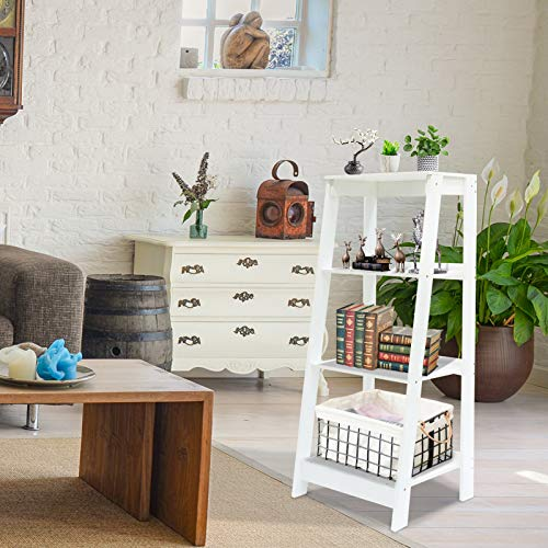 Coismo 3-Tier Ladder Functional Shelf Wooden Home Office Storage Bookcase Display, White by Coismo (Image #1)