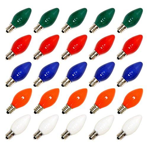 Vickerman C7 Ceramic Bulbs, 130-volt/5-watt, Multicolored (C7 Lightbulbs compare prices)