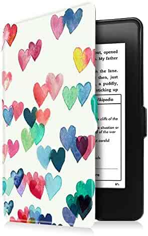 Fintie Slimshell Case for Kindle Paperwhite - PU Leather Cover with Auto Sleep/Wake for All-New Amazon Kindle Paperwhite (Fits All Generations), Raining Hearts