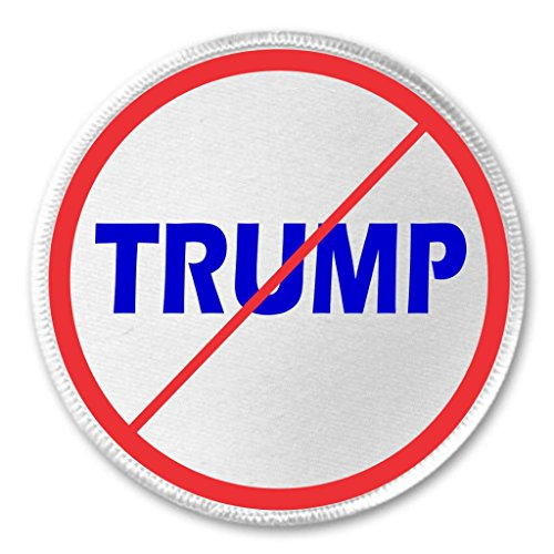 "A&T Designs Anti Red Slash TRUMP 3"" Sew On Patch President Campaign Vote Donald"
