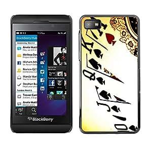PC/Aluminum Funda Carcasa protectora para Blackberry Z10 Cards Poker Ace King Queen Game Play Art / JUSTGO PHONE PROTECTOR