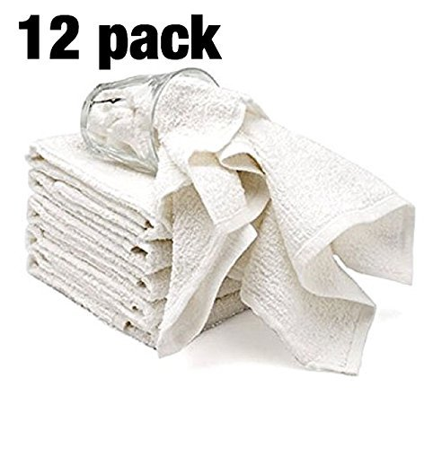 Bar Mop Cleaning Kitchen Dish Cloth Towels,100% Cotton, Machine Washable, Everyday Kitchen Basic Utility Bar Mop Dishcloth Set of 12, -