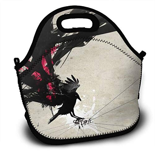 Lunch Bag Crow Abstract Ink Drawn Tote Reusable Insulated Lunchbox, Shoulder Strap with Zipper for Kids, Boys, Girls, Women and Men