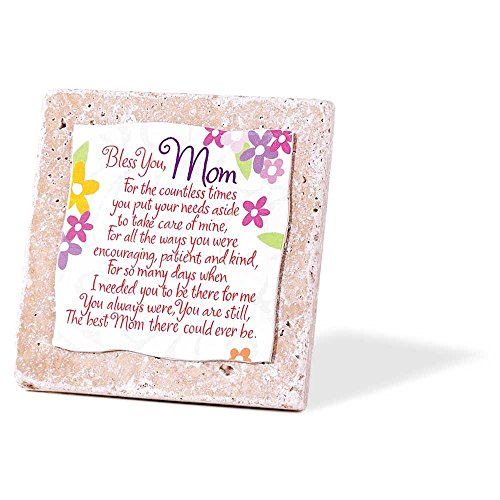 Dicksons Mom Bless You Flowers 4 x 4 Ceramic Tile Table Top Sign Plaque