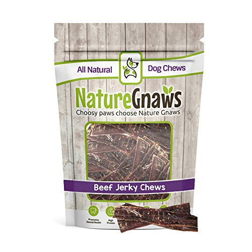Nature Gnaws Beef Jerky Chew Sticks 4-5 inch (20 Count) - 100% Natural Grass Fed Beef Dog Chews (Best Puppy Treats For Pitbulls)
