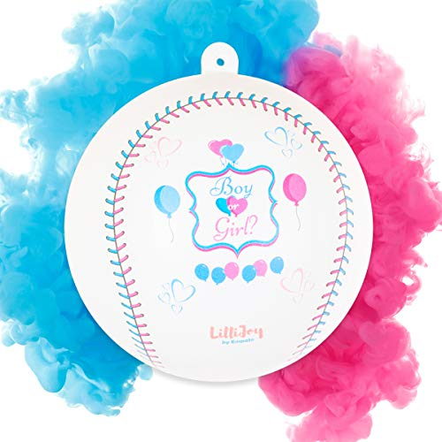 LilliJoy Premium Gender Reveal Baseball Set - 2-Pack Baseball Gender Reveal Ball Kit - Exploding Balls Filled with Pink and Blue Color Holi Powder in Gift Box - Boy or Girl Baby Shower Party Supplies