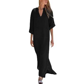 Vestidos sueltos estilo vintage para mujer, estilo Saihui, color sólido, retro, algodón