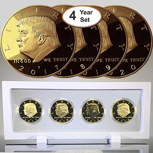 (Donald Trump 4 Gold Coin Set, 45th 1st Term Presidential Collector's Edition, Commemorative Gold Plated Replica Coins 2017, 2018, 2019, 2020, Rectangle Display Case, Cert. of Authenticity (White 1Pak))