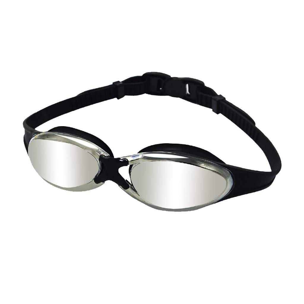 iSkylie Swim Goggles, Waterproof Swimming Glasses Anti-Fog UV Protection Nearsighted Shortsighted Myopia for Men and Women (Black)