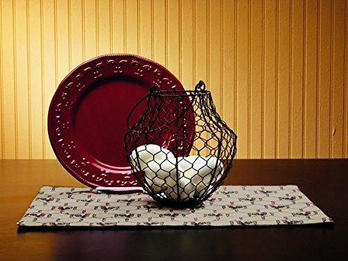 Antique Primitive Vintage Iron Brown Chicken Wire Egg Basket - Wire Mesh, Gift, Food, Fruit, Flowers, Storage, Shelf Decor (Primitive Egg Basket)