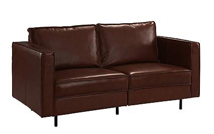 Amazoncom Mid Century Modern Leather Loveseat Couch Dark Brown