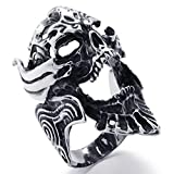 Stainless Steel Rings, Men's Bands Punk Gothic Skull Biker Silver Black Size 11 Epinki