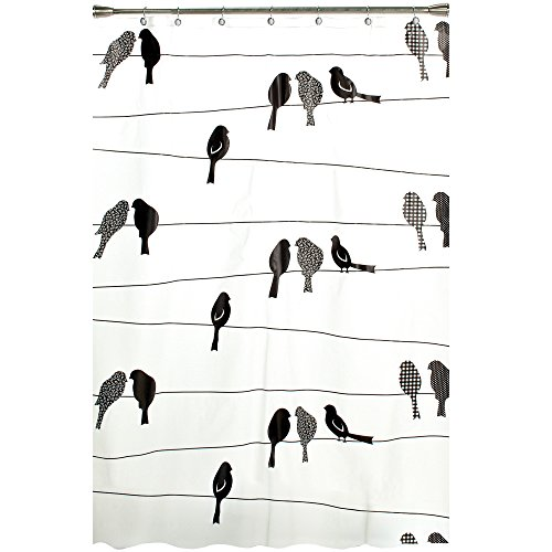 On A Vinyl Curtain - SKL Home by Saturday Knight Ltd. Birds on a Wire Shower Curtain, Black
