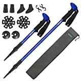 Vive Trekking Poles (Pair) - Collapsible Hiking Sticks - Ultralight Antishock Trek Walking Staff - Rubber Ice Snow Tip - Collapsible Running, Walking Cane for Men and Women - Backpack and Camping Gear
