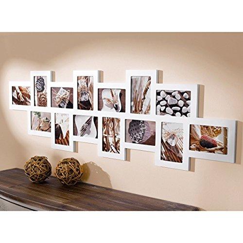 Portaretratos collage galeria de fotos para 14 fotografías de 10 x 15 madera MDF blanco aprox. ancho 110 x altura 34 cm: Amazon.es: Hogar