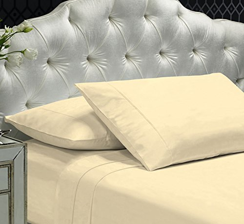 400tc 100% Cotton - Livingston Home 2550 Z Hem 400TC Queen Sheet,Ivory
