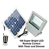 Super Bright SMD LED Solar Flood Light w Panel and Remote Review