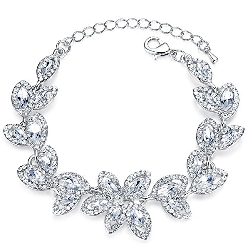 mecresh Silver Bridal Leaf Crystal Bracelet for Women Wedding Jewelry (Elegant Bridal Bracelet)
