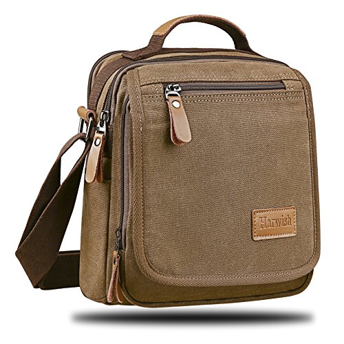 Harwish Canvas Messenger Bag Shoulder Bag Handbag Crossbody Bag Satchel Daypack for Travel Hiking Work Outdoor (Brown)