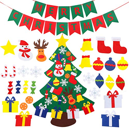 Holybo DIY Felt Christmas Tree for Kids/Toddlers/Children with Banner Wall Door Hanging - Children/Toddlers/Kids Christmas Tree Toys Gifts with 30 Pcs Christmas Ornaments
