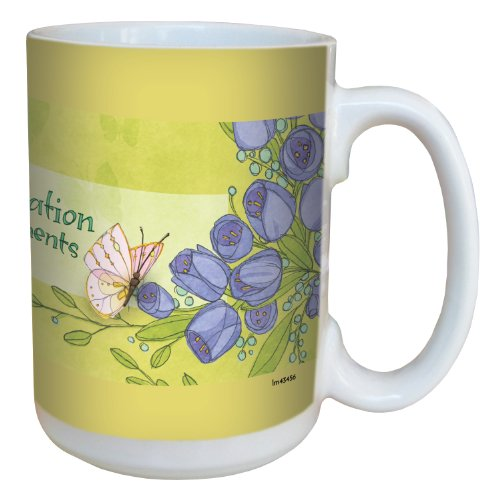 Tree-Free Greetings lm43456 Inspiring Butterflies and Purple Flowers by Robin Pickens Ceramic Mug with Full-Sized Handle, 15-Ounce