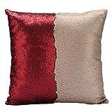 Clearance!Woaills Sofa Car Cushion Case,DIY Two Tone Glitter Sequins Throw Pillows Square (D)