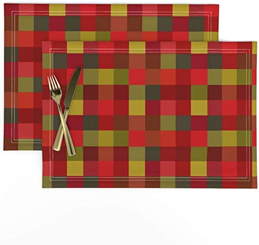 Amazon Com Roostery Cloth Placemats Cadmium Red Olive Green Christmas Plaid Holiday Checkerboard Avocado Camp Outdoor Sq Picnic Army Grn Print Linen Cotton Canvas Placemats Set Of 2 Home Kitchen