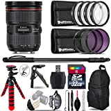 Canon EF 24-70mm f/2.8L II USM Lens + UV-CPL-FLD Filters + Macro Filter Kit ( + 1, + 2, + 4 & + 10) + 72 Monopod + Table-Top Tripod + 32GB Class 10 + Backpack + Spider Tripod - International Version