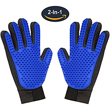 Pet Grooming Glove,Gentle Deshedding Brush Glove Hair Remover Brush for Dogs,Cats & Horses with Long & Short Fur,Enhanced Five Finger Design -One Pair Left & Right