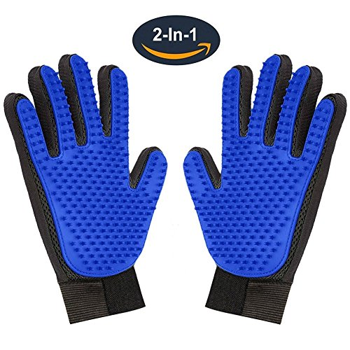Pet Grooming Glove,Gentle Deshedding Brush Glove Hair Remover Brush Dogs,Cats & Horses Long & Short Fur,Enhanced Five Finger Design -One Pair Left & Right
