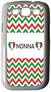 Rikki KnightTM Nonna name on Italian Flag and Green and Red Chevron Design - White Hard Rubber TPU Case Cover for Samsung? Galaxy i9300 Galaxy S3