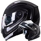 IV2 Mars Dual Visor Modular Flip up Matte Black with White Strips Motorcycle Snowmobile Helmet DOT (S)