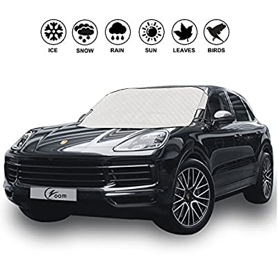 """Magnetic Edges Car Windshield Snow Cover - Winter Ice, Snow and Frost Guard - Sun Shade Protector - New 6x Magnets - Thick Windproof Design - Fits Most Car & SUV - 70.8""""(W) X 47.2""""(H)"""