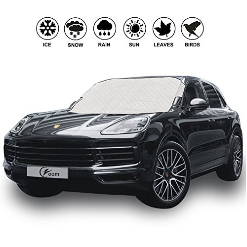 "Magnetic Edges Car Windshield Snow Cover - Winter Ice, Snow and Frost Guard - Sun Shade Protector - New 6x Magnets - Thick Windproof Design - Fits Most Car & SUV - 70.8""(W) X 47.2""(H)"