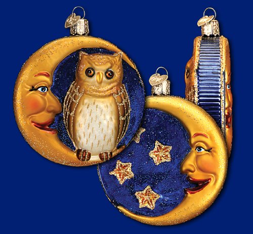 OWL & Crescent Moon Classic Vintage-style Halloween Ornament Old World Christmas