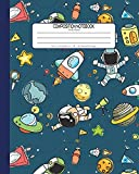 #6: Composition Notebook Wide Ruled: School Exercise Book | 120 Lined Pages | Blue - Astronaut (Outer Space Astronomy Series)