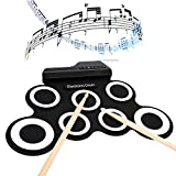 Electronic Drum Set Portable Roll Up Electronic Drums Pad Kit with Built-in Speakers Foot Pedals Drumsticks and Drum Sticks (US Stock)