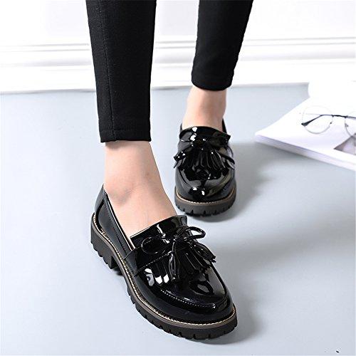 Plus 34 Flats Tamaño LANSHULAN 42 Oxfords Cuero Juniors Esmalte mujer Calzado Zapatos para Negro borlas con xRfwqFAPx