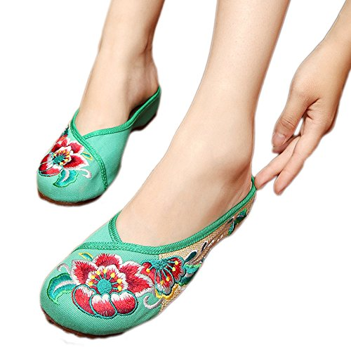 Avacostume Dames Chinese Stijl Oxfords Enige Casual Wandel Pantoffels Groen