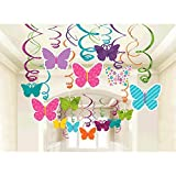 Amscan Spring Butterfly Party Hanging Swirl Decorations 30pkg
